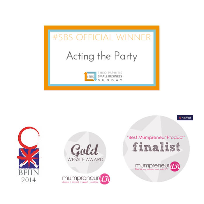 Acting the Party award badges