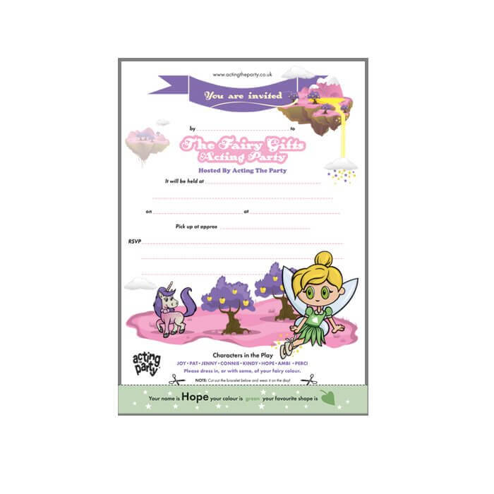 Fairy party invitation on usb
