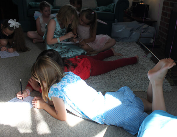 Girls playing our fairyglyphics game