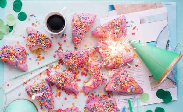 pink birthday cake slices